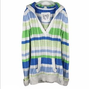 Justice striped hooded sweater dress size 12